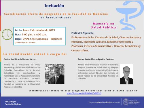 Universidad Nacional de Colombia Sede Orinoquia invita a la socialización de posgrados de la Facultad de Medicina