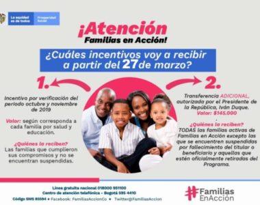 Mañana viernes 27 inicia el pago de más familias en Acción y el giro adicional de $145.000 por emergencia sanitaria