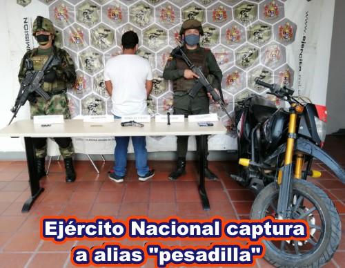 """Ejército Nacional reseña la captura de alias """"Pesadilla"""" en el Sarare"""