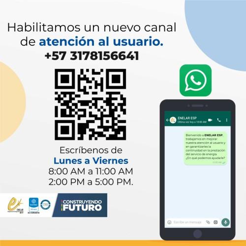 ENELAR ESP amplía sus canales de atención no presenciales habilitando el WhatsApp empresarial 3178156641