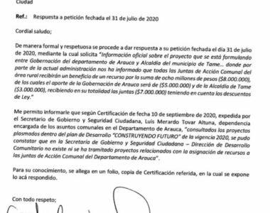 El secretario de gobierno departamental desconoce que haya un proyecto de asignación de recursos para las juntas de acción comunal