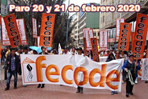 Fecode anuncia paro nacional de 48 horas el 20 y 21 de febrero de 2020
