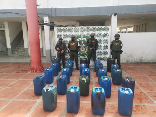 ACPM de contrabando incautado en Arauca, por valor de dos millones de pesos