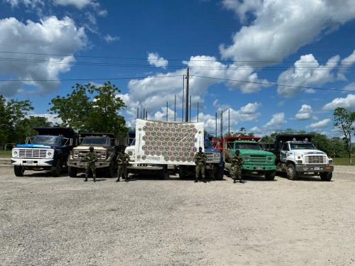 El Ejército Nacional recuperó seis volquetas robadas por el ELN en Arauca