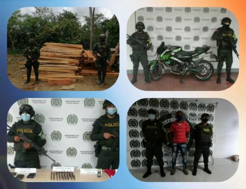 Material bélico incautado, madera sin permiso de transporte, porte documentación falsa, evasión de pago ante tránsito y otras acciones realizaron las autoridades del Departamento de Arauca