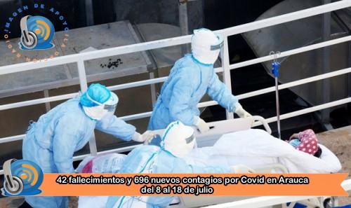 Entre el 8 y el 18 de julio se presentaron 42 fallecimientos en Arauca por Covid 19